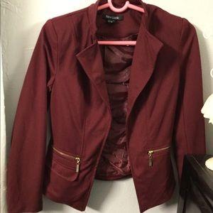 Stylish Blazer coat maroon zip pocket new look